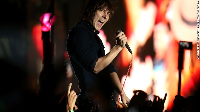 Thomas Mars of Phoenix performs on Day Two on April 13.