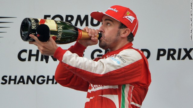 Fernando Alonso celebrates after winning the Chinese Grand Prix Sunday.