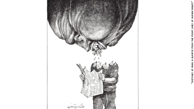 "By Touka Neyestani. ""Cartoons communicate with a much wider audience, with different layers of society,"" says Memarian."