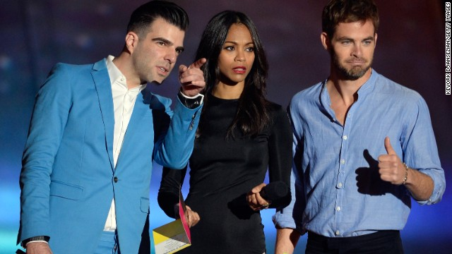 "With a new ""Star Trek"" movie on the way in May -- ""Star Trek Into Darkness"" -- cast members Zachary Quinto, right, Zoe Saldana and Chris Pine show up at the MTV Movie Awards in full promotion mode."