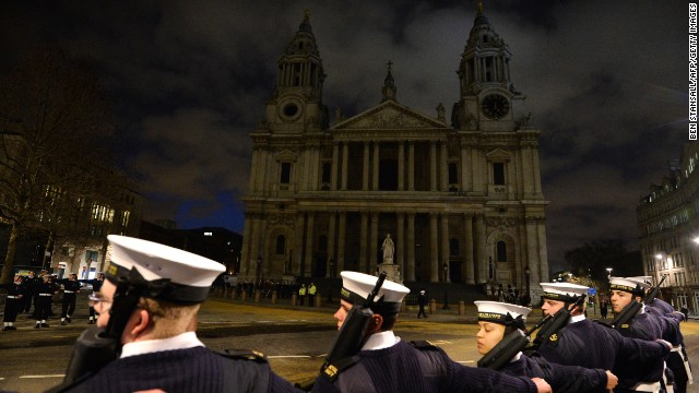 Honor Guard takes part in a rehearsal for the ceremonial funeral of former prime minister Margaret Thatcher outside St Paul's Cathedral in the city of London, on April 15, 2013.