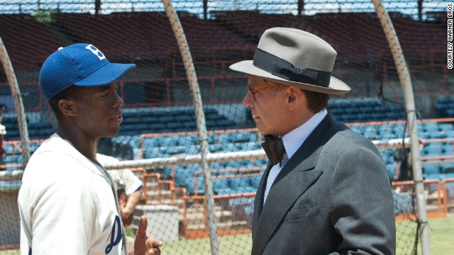 Chadwick Boseman stars as Jackie Robinson and Harrison Ford stars as Branch Rickey in the film