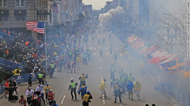 A second explosion goes off near the finish line.
