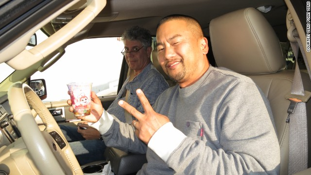 Anthony Bourdain and chef Roy Choi stop at Jollibee, a Filipino fast food chain, for a dessert halo-halo.