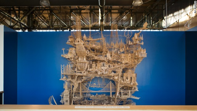 This sculpture, filled with San Francisco landmarks, took artist Scott Weaver 100,000 toothpicks and 35 years to create.