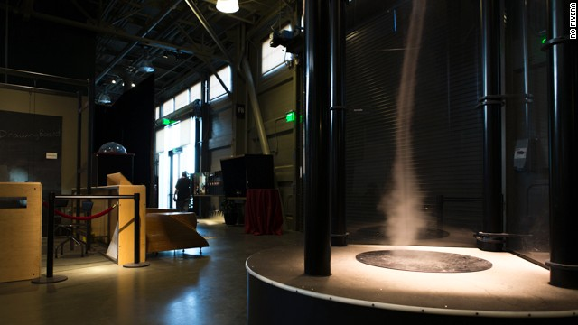 Look, kids -- scary weather! A mist generator and fans are used to create this indoor tornado.