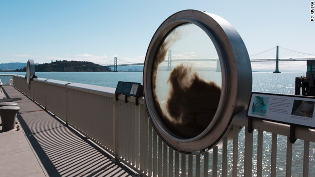 This installation teaches museumgoers about sediment in the Bay (with the Bay Bridge in the background).