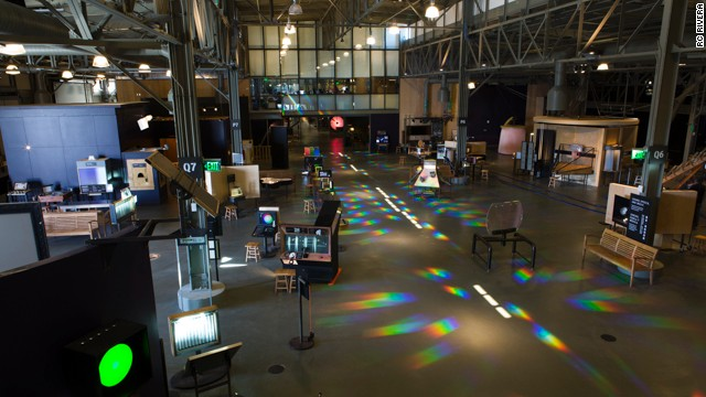 Exhibits line one of the cavernous main halls at the new Exploratorium.