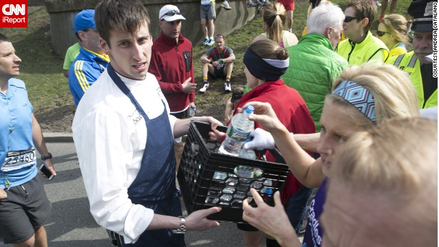<a href='http://ireport.cnn.com/docs/DOC-957434'>Catalano</a> says he saw spectators run into their houses and dorm rooms to grab blankets, jackets and water to give to runners.