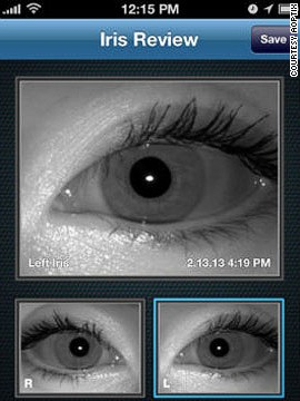 A screen grab from the AOptrix eye-scanner facility as captured via an iPhone camera.