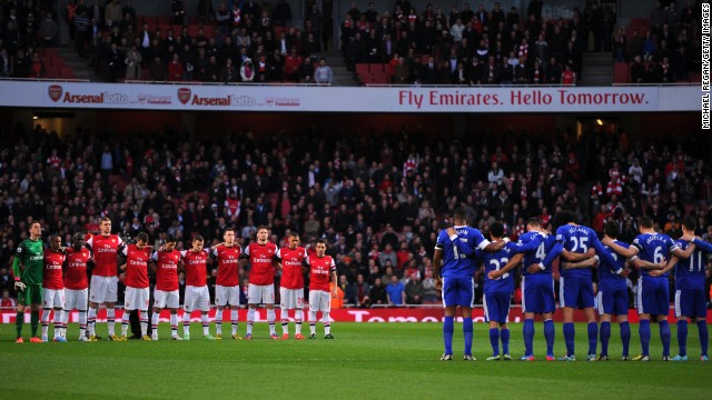 Arsenal and Everton soccer teams observe a moment of silence for the Hillsborough disaster anniversary and the victims of the Boston terror blasts during the Barclays Premier League on April 16, in London, England. In 1989 nearly 100 people were killed and several hundred injured due to overcrowding at a match at the Hillsborough Stadium in Sheffield, England.