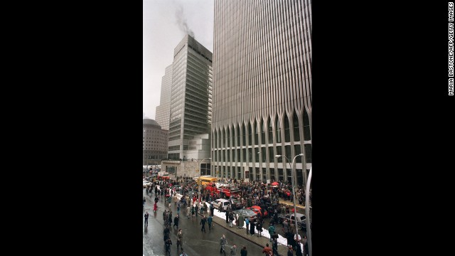 Firefighters and rescue crews work outside the World Trade Center after an attack on February 26, 1993. This bombing shocked the nation, which had no way to realize that much worse was to come at this location in less than decade.
