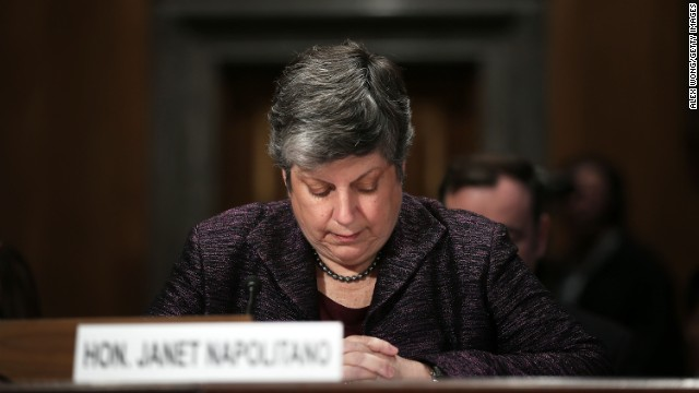 Homeland Security Secretary Janet Napolitano observes a moment of silence for victims of the Boston bombing during a hearing before the Senate Homeland Security and Governmental Affairs Committee on April 17.
