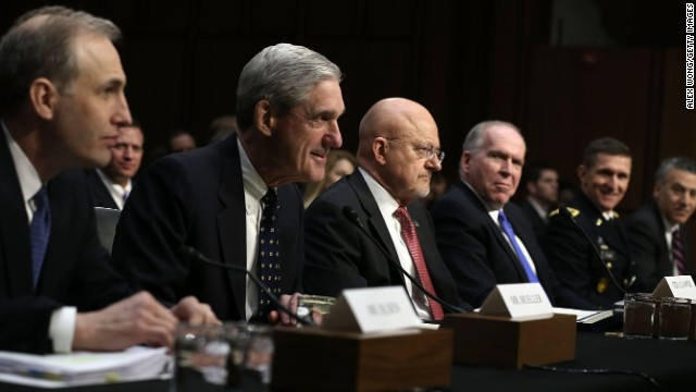 From far left, National Counterterrorism Center Director Matthew Olsen, FBI Director Robert Mueller, Director of National Intelligence James Clapper and CIA Director John Brennan testify at a Senate committee hearing on March 12.