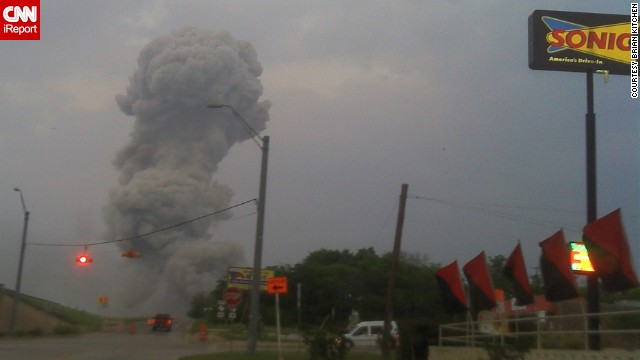 Smoke billows into the sky immediately after the explosion at West Fertilizer Co. in West, Texas, on Wednesday, April 17, as captured by CNN iReporter Brian Kitchen. The deadly explosion damaged buildings for blocks in every direction.