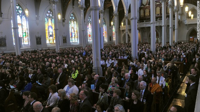 Mourners filled the cathedral in Boston on April 18 for the the interfaith service.