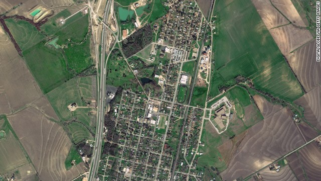 This satellite image shows West, Texas, as captured on January 30, 2012. The fertilizer plant is on the right center of the photo, just northeast of the oval track of the town's middle school.