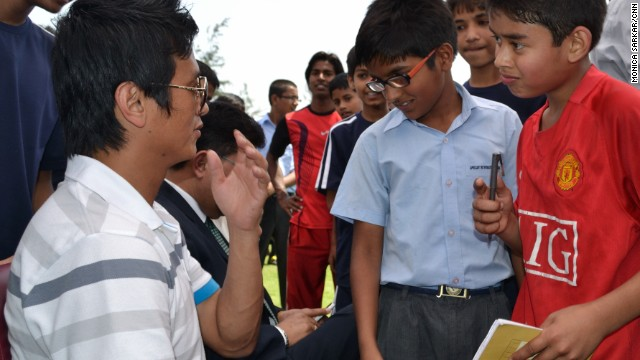 The academy was set up by Bhutia, one of India's greatest sporting stars. Pictured here with children at the academy in May 2012, Bhutia had a short spell playing for the English club Bury FC in 1999 and made more than 100 appearances for the national team.