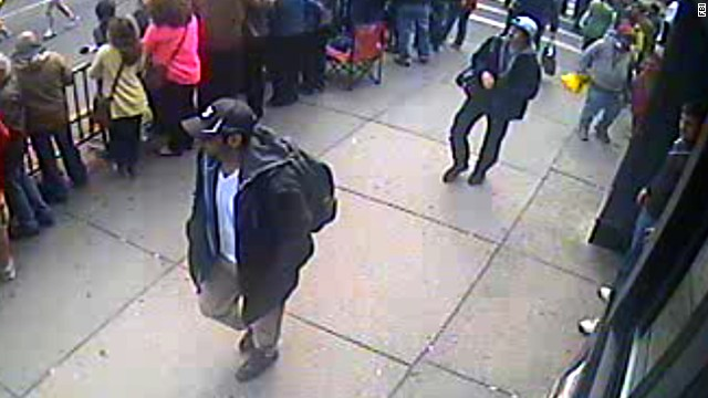 The FBI released photos and video on April 18, 2013, of two men it called suspects in the deadly bombings and pleaded for public help in identifying them. The men were photographed walking together near the finish line.