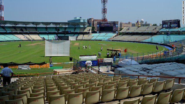 The Eden Gardens stadium in Kolkata hosts many of India's international cricket matches. Cricket's popularity is often claimed to overshadow Indian football.