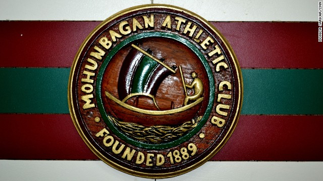 The official emblem of I-League club Mohun Bagan, displayed at its grounds. Established in 1889, Mohun Bagan is the oldest club in India. A derby match against arch rival East Bengal F.C. can pack out the 120,000-capacity Saltlake stadium.