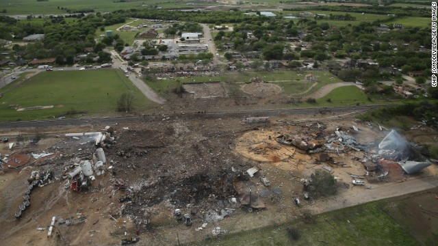 The West Fertilizer Co. lies in ruins in West, Texas, on Thursday, April 18, the day after the accident.