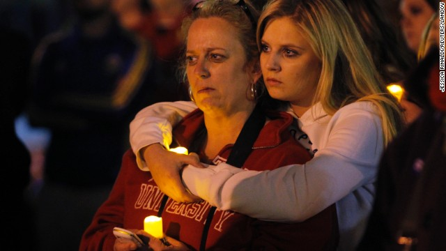 Two women embrace during a candlelight vigil in Somerville, Massachusetts, for the victims of the Boston Marathon bombing on Thursday, April 18.