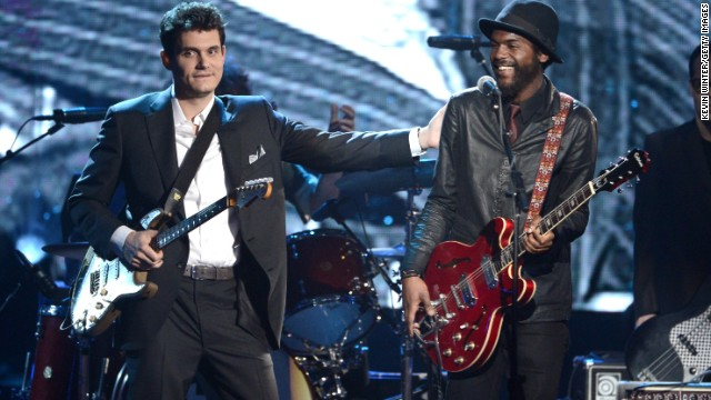 John Mayer, left, and Gary Clark Jr., perform onstage.