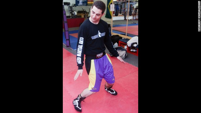 Tsarnaev shows how he strengthens his ankles, according to the article.