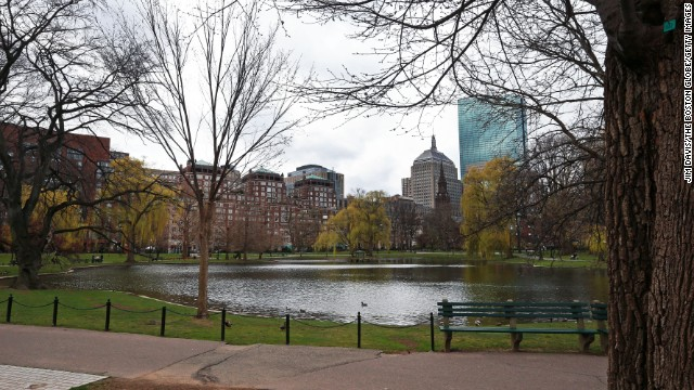 The Boston Public Garden is largely empty on April 19.