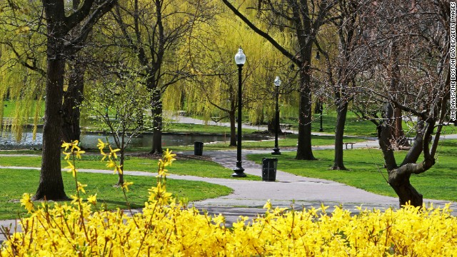 Paths are empty at the Boston Public Garden on April 19.