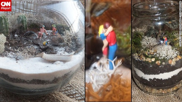 "Toni Freda and Steve Nardone shared these photos of <a href='http://ireport.cnn.com/docs/DOC-959897'>two terrarium displays</a>. At left is ""Beach Day with Papa,"" and ""Reasons of Love"" is on the right."