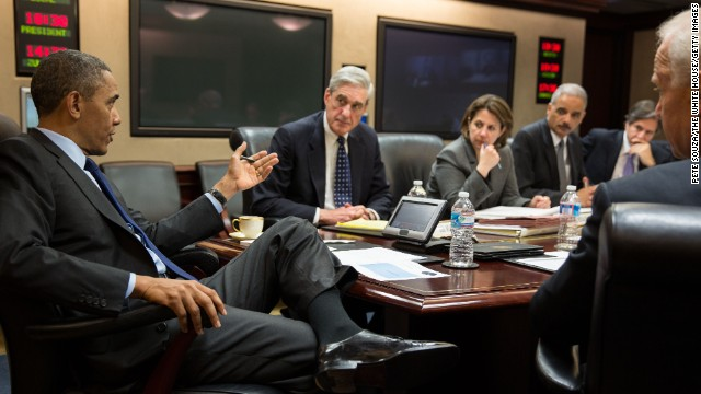 U.S. President Barack Obama meets with members of his national security team in the Situation Room of the White House on April 19 to discuss developments in the Boston bombings investigation.