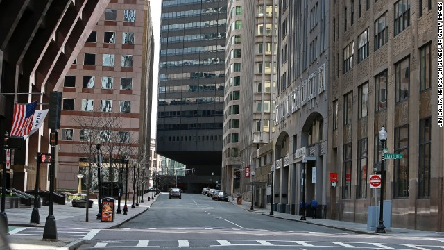 Federal Street is mostly empty on April 19 in the Financial District.