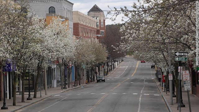 Moody Street in Waltham is deserted as the lockdown continues on April 19.