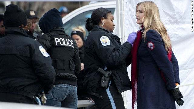 "Actress Daryl Hannah was handcuffed and arrested while protesting the Keystone XL Pipeline in February 2013. She's also the executive producer of the documentary ""Greedy Lying Bastards,"" which explores climate change denial."