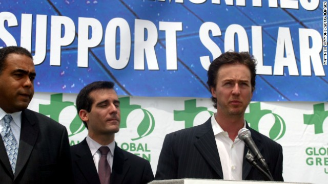 "Actor Edward Norton ran a marathon to support conservation in the east African grasslands. He has also campaigned for sustainable energy and served as a United Nations goodwill ambassador for biodiversity. ""I think catastrophic events like what's happening in the Gulf with the oil spill do highlight for people that there is enormous ramification for human well-being through a loss of biodiversity,"" <a href='http://www.cnn.com/2010/WORLD/americas/07/08/un.norton.goodwill.ambassador/index.html'>Norton said in 2010</a>."