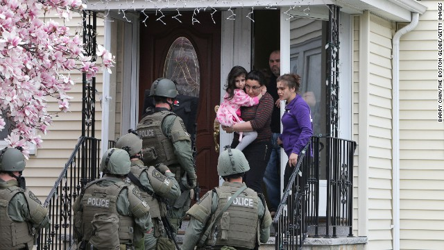 SWAT teams conducted door-to-door searches in Watertown while looking for the suspect.