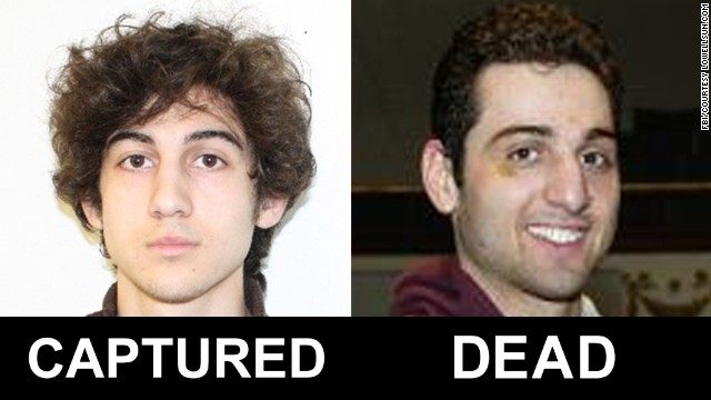 The FBI released photos and video of two men identified as Suspect 1 and Suspect 2 in the deadly bombings at the Boston Marathon. They have been identified as Dzhokhar Tsarnaev, 19, and Tamerlan Tsarnaev, 26. <a href='http://www.cnn.com/SPECIALS/us/boston-bombings-galleries/index.html'>See all photography related to the Boston bombings.</a>