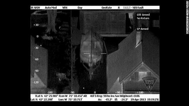 Massachusetts State Police released thermal images of Boston Marathon bombing suspect Dzhokhar Tsarnaev hiding in a boat in a backyard in Watertown on April 19, 2013, which helped lead to his capture. They were taken by an infrared device on a helicopter. The first image was taken at 7:19 p.m., less than 20 minutes after a homeowner told police there was a bloodied person in his boat.