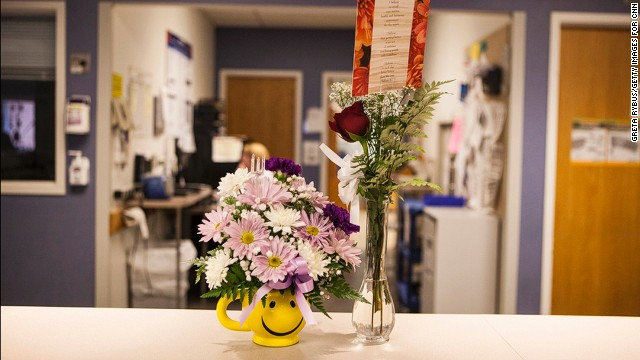 Flowers were delivered for patients at the Tufts Medical Center intensive care unit.