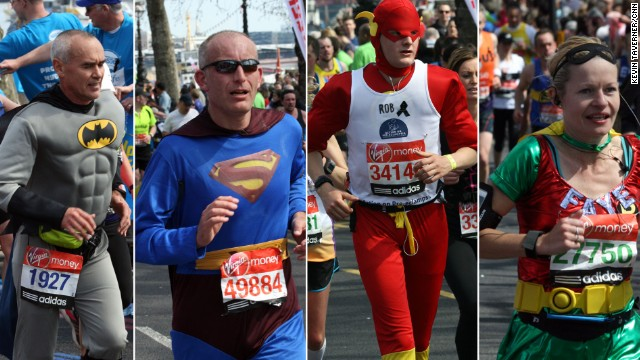 Fancy dress runners compete on April 21 in the London Marathon which started in East London before traveling into the city, along the River Thames and finishing near Buckingham Palace.