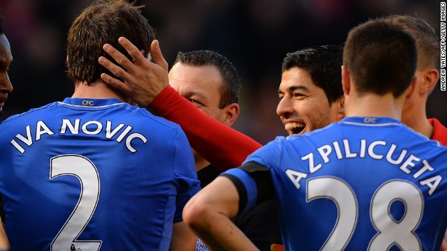 Suarez then laughingly pats Ivanovic on the head after the Serbian complains to referee Kevin Friend.