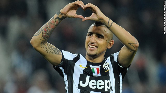 Chilean midfielder Arturo Vidal celebrates after scoring Juventus' winner against AC Milan on Sunday.
