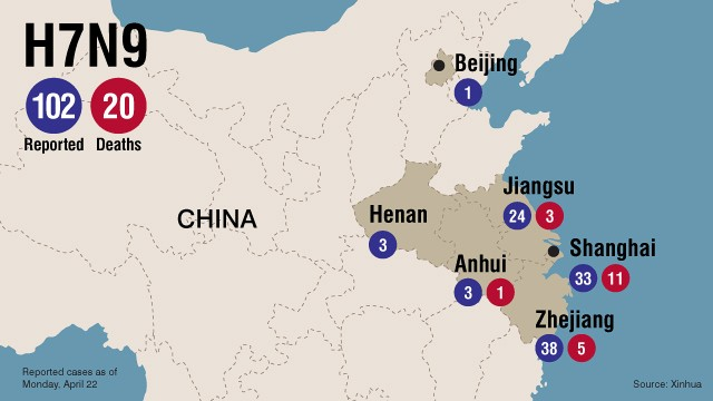 Map: Bird flu spread