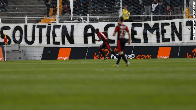 "Valentin Eysseric, who plays for French club Nice, was hit with an 11-match suspension following last month's match against Saint Etienne. The midfielder broke Jeremy Clement's leg and shattered several ankle ligaments following a shin-high tackle. Saint Etienne's fans have since displayed a banner saying ""Support Clement"" during their matches."