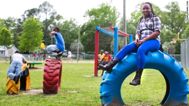Aniyah Peters, 13, is a member of the Jackie Robinson Boys and Girls Club. She says Robinson's achievements inspire her to pursue her dreams.