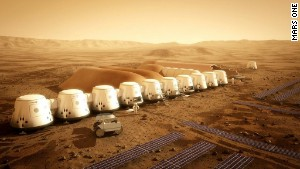 An illustration shows the proposed Mars One settlement. A manned mission to Mars is planned in nearly a decade.