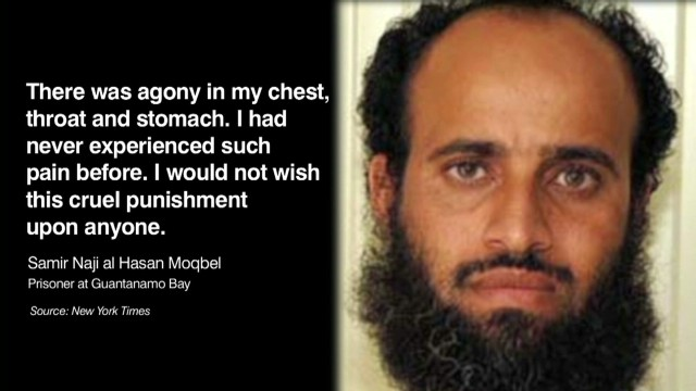 Prisioneros de Guantánamo en huelga de hambre, cerca de la muerte
