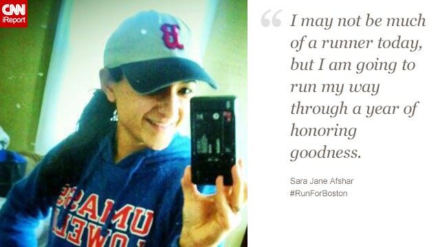 Sara Jane Afshar plans to run every day until the one-year anniversary of the Boston bombing, and she's <a href='http://sarajafshar.wordpress.com/' target='_blank'>blogging about the process</a>.